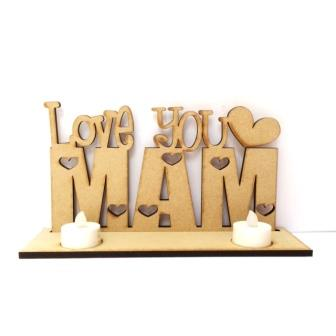 Wooden Love You Candle holder Sign