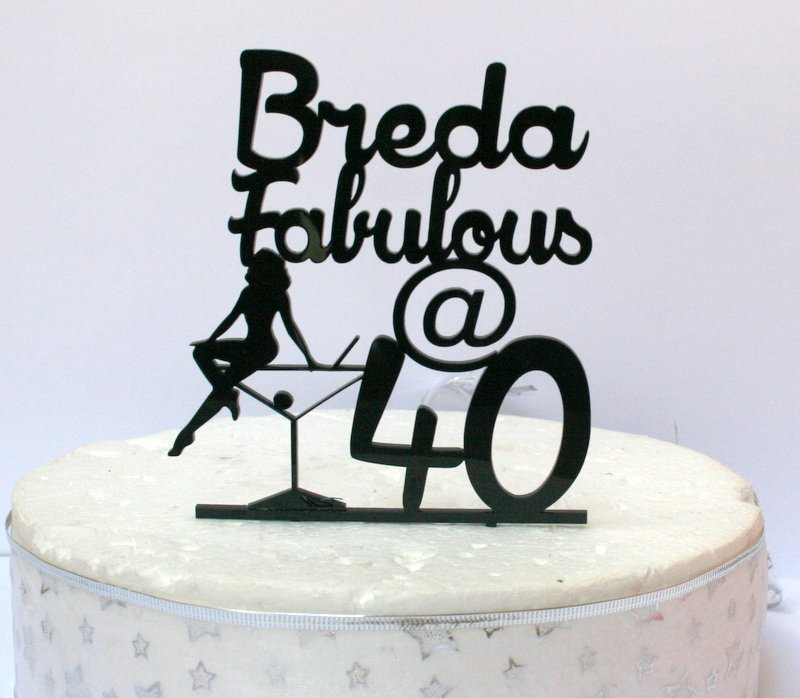 Fabulous 50 Cake Topper: Personalised Fabulous At 40 Birthday Cake Topper
