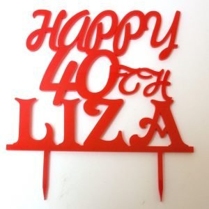 Personalised Happy 40th cake topper