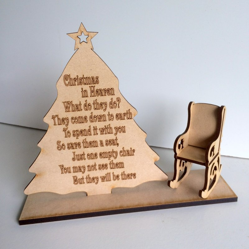 christmas in heaven with chair sign