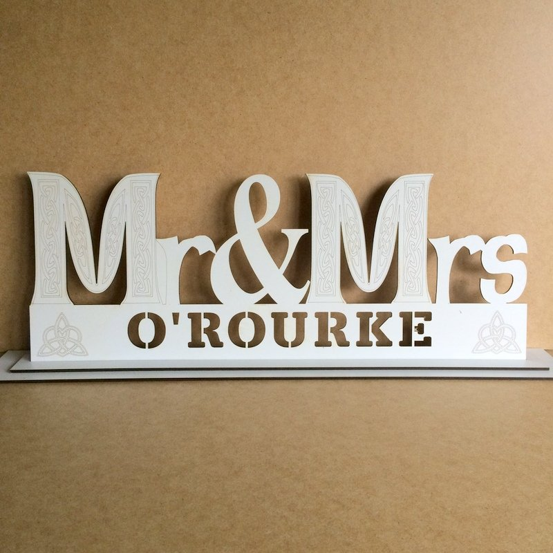Mr and mrs white personalised wooden wedding table sign for Table sign design