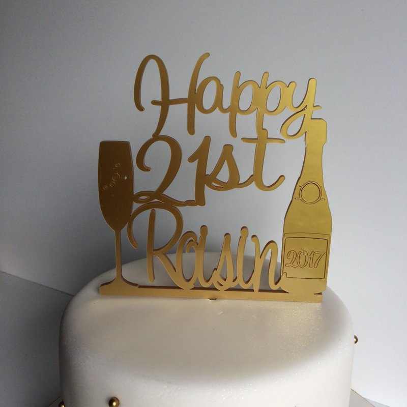 21st Personalised Birthday Cake Topper With Champagne