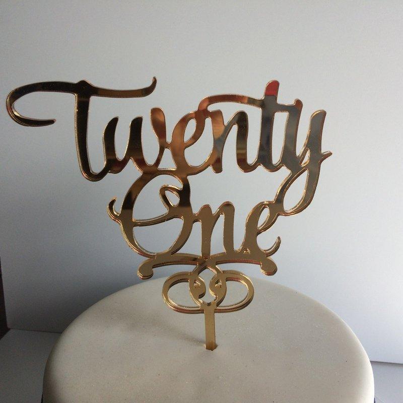 Twenty One Birthday Cake Topper Memory Keepsake Acrylic