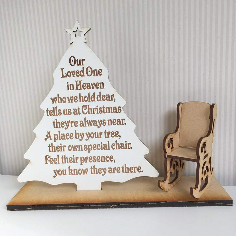 our loved one heaven with chair sign white tree
